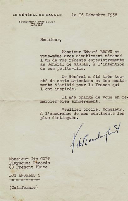 Letter from Charles De Gaulle's secretary.