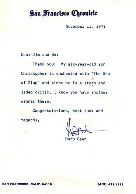 Letter from San Francisco Chronicle Columnist Herb Caen.